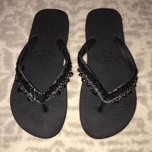 Steve Madden Black Beaded Flip Flops